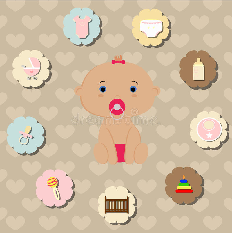 Set of accessories for the care of newborn baby girl stock illustration