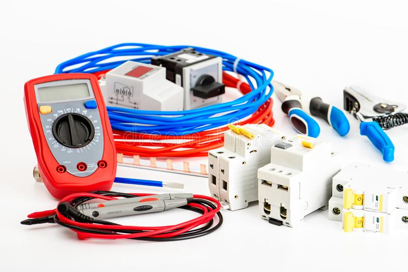 A set of accessories for the installation of electrical wiring homes. Electricity Industry Concept royalty free stock photos