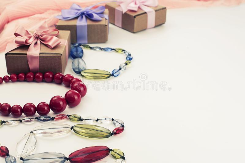 Set accessories for women fashion purchase. Making gifts for the holiday royalty free stock image