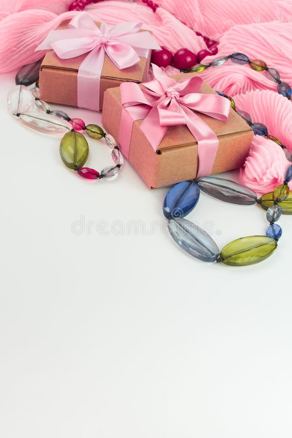 Set accessories for women fashion purchase. Making gifts for the holiday stock photos