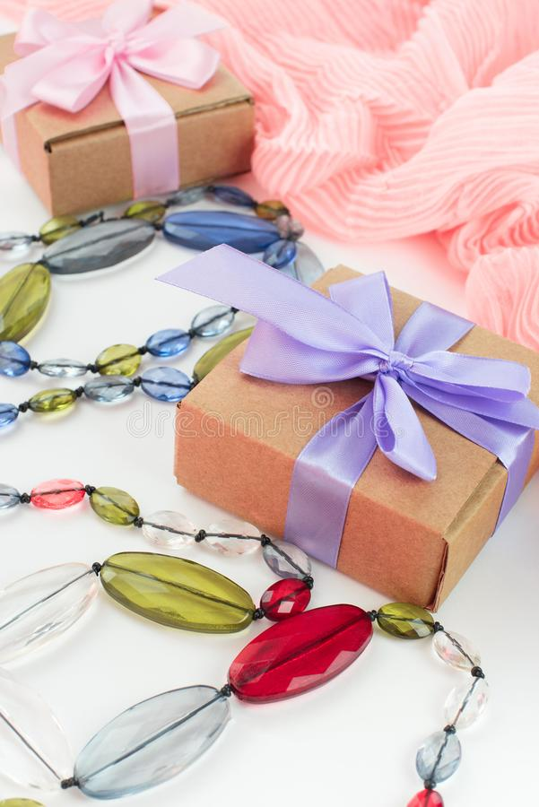 Set accessories for women fashion purchase. Making gifts for the holiday stock photography