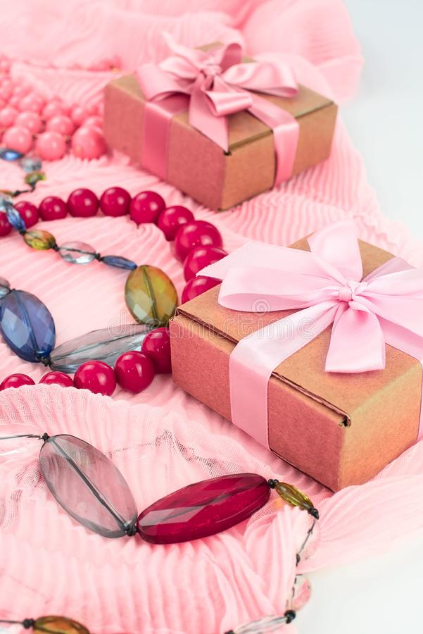 Set accessories for women fashion purchase. Making gifts for the holiday royalty free stock images