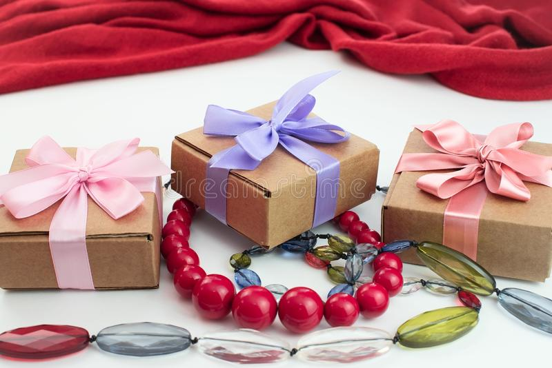 Set accessories for women fashion purchase. Making gifts for the holiday royalty free stock photo