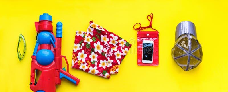 Set accessory Songkran Festival Thai New Year stock image