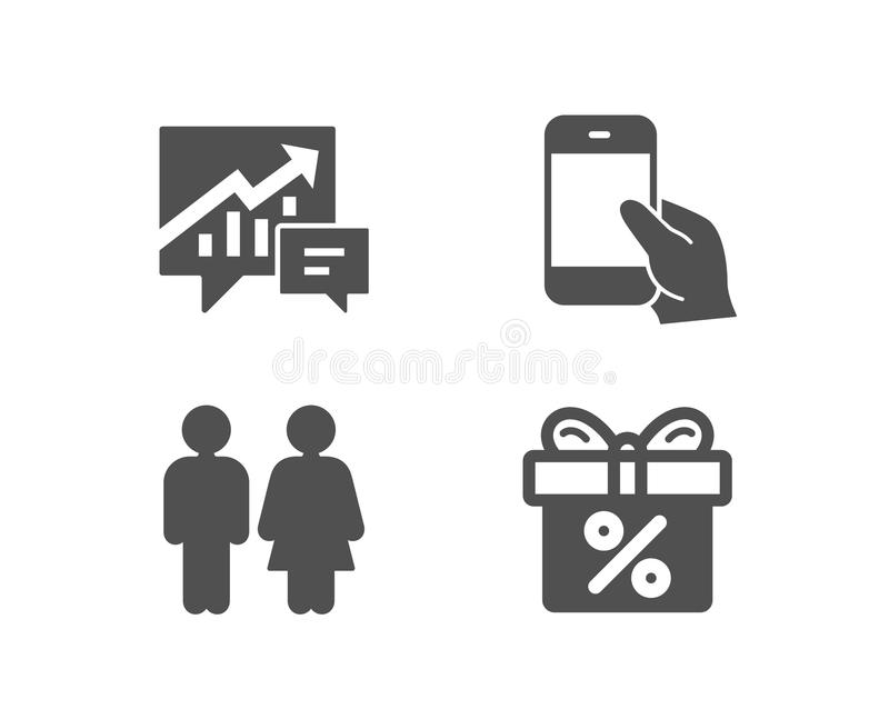 Accounting, Hold smartphone and Restroom icons. Discount offer sign. Supply and demand, Phone call, Wc toilet. vector illustration