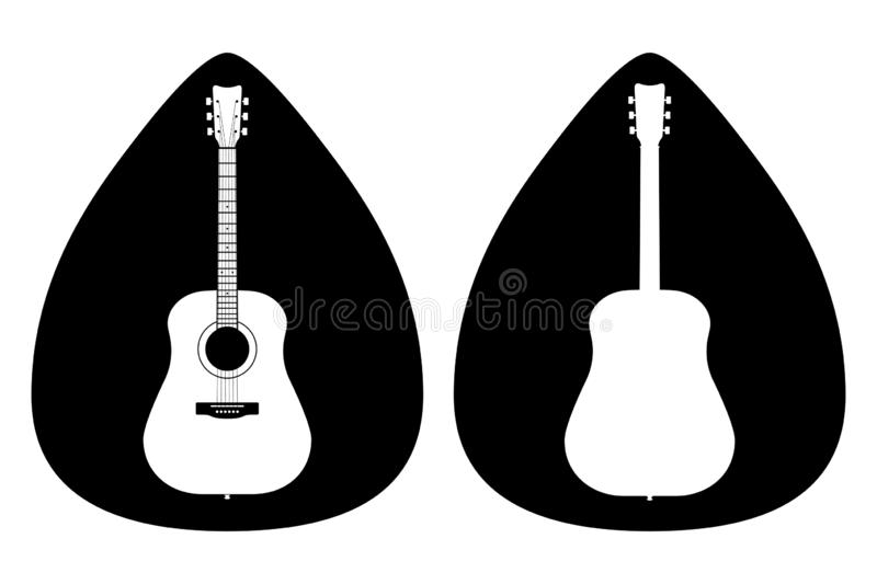A set of acoustic classic guitars of black on white background. String musical instruments. A set of acoustic classic guitars of lack on white background. String vector illustration