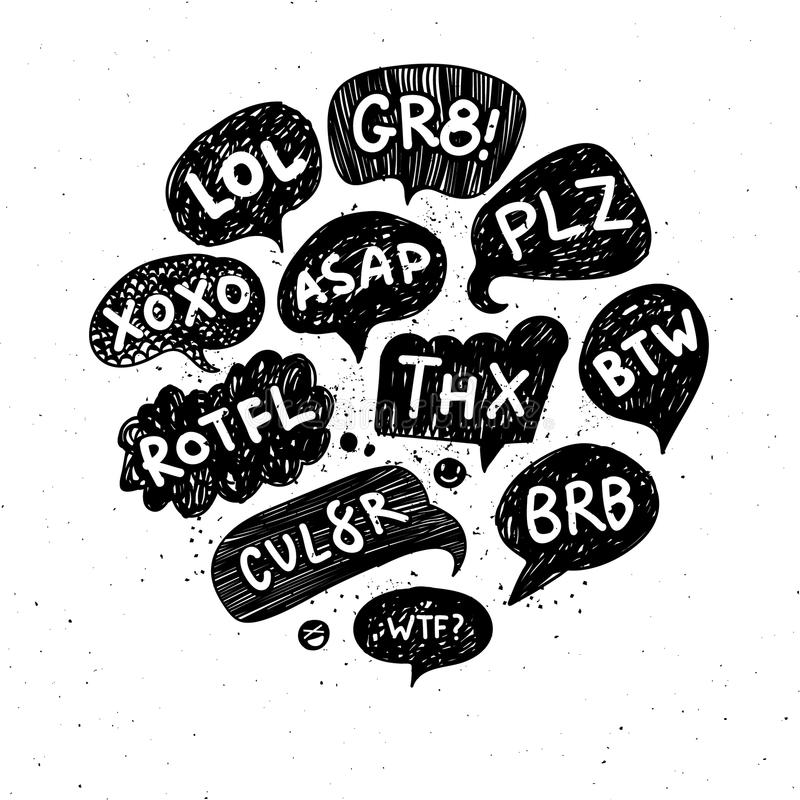 Set of acronyms and abbreviations royalty free illustration
