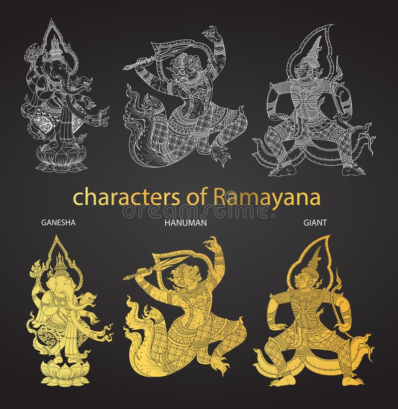 Set action characters of Ramayana,thai tradition style. Vector vector illustration