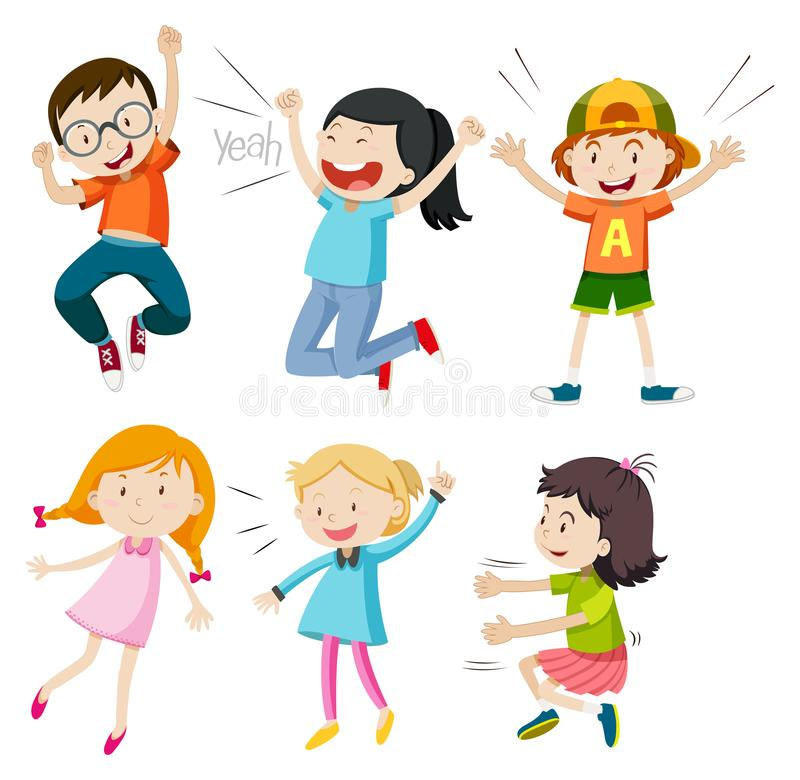A Set of Active Kids on White Background stock illustration