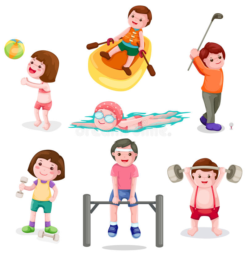 Download Set of activity exercise stock vector. Image of drawing - 19927565