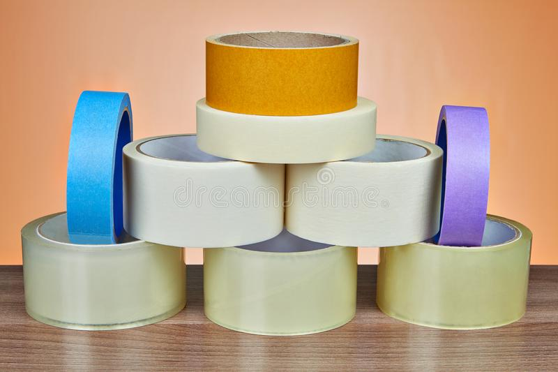 Set of adhesive tape is stacked in form of pyramid. royalty free stock photo