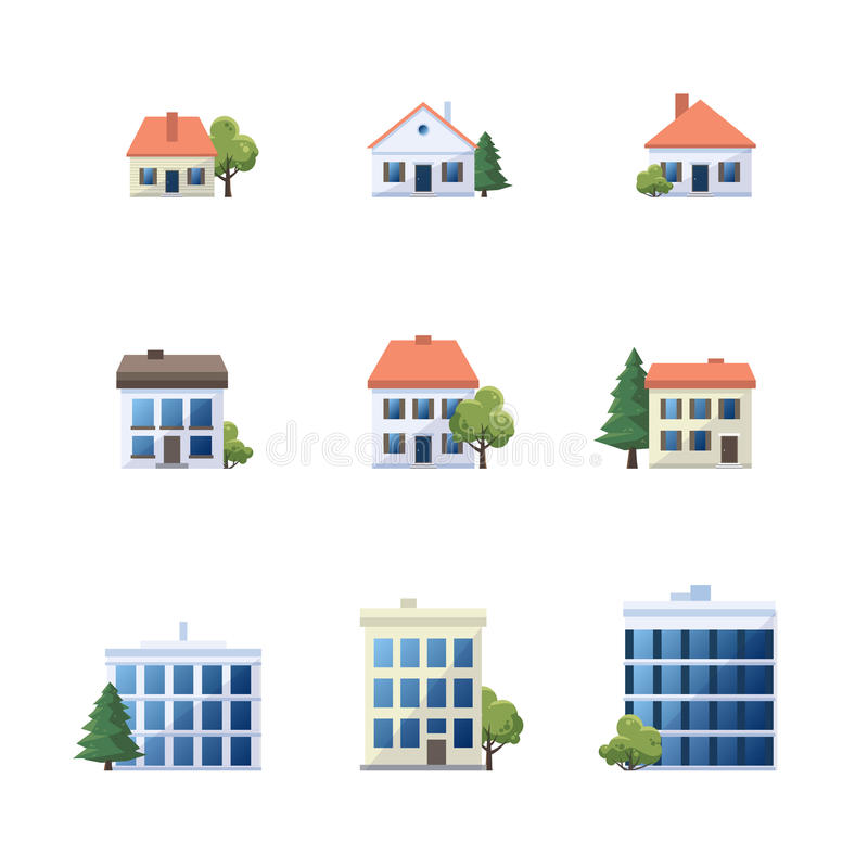 Set of admistrative office house family building icons. Flat vector cartoon style illustration of different building types. Set of city office buildings, family royalty free illustration