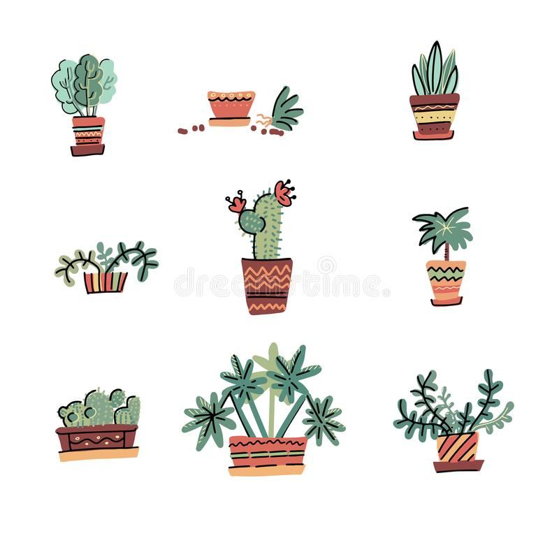 Set of Adorable Miniature Plants Design Elements. Hand drawn contained house plants. Scandinavian style illustration, modern vector illustration