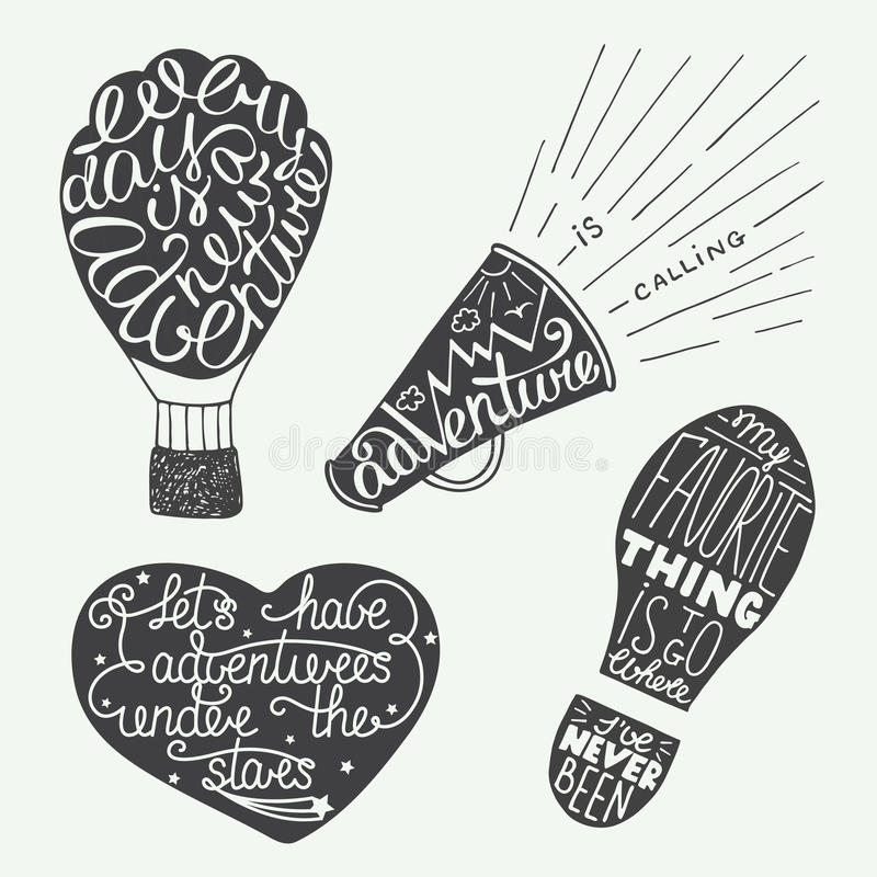 Set of adventure lettering for greeting cards, prints and poster stock illustration