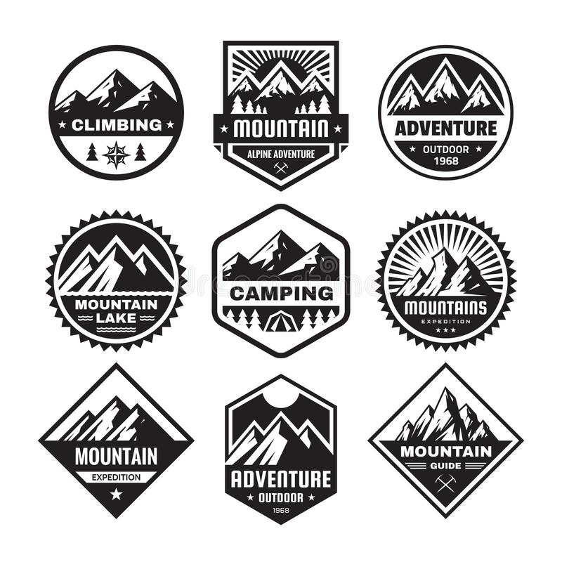 Set of adventure outdoor concept badges, camping emblem, mountain climbing logo in flat style. Exploration sticker symbol. stock illustration