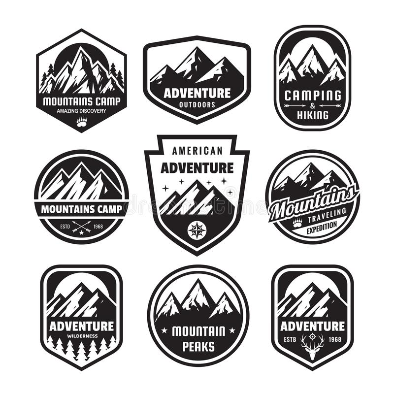 Set of adventure outdoor concept badges, camping emblem, mountain climbing logo in flat style. Exploration sticker symbol. royalty free illustration