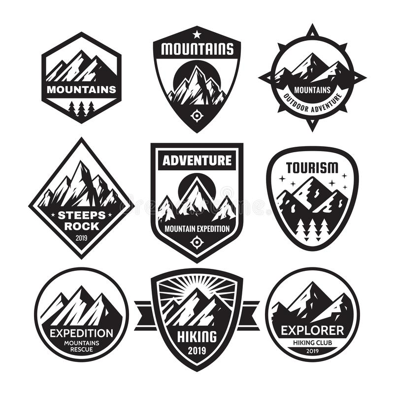 Set of adventure outdoor concept badges, summer camping emblem, mountain climbing logo in black & white colors. Monochrome stencil vector illustration