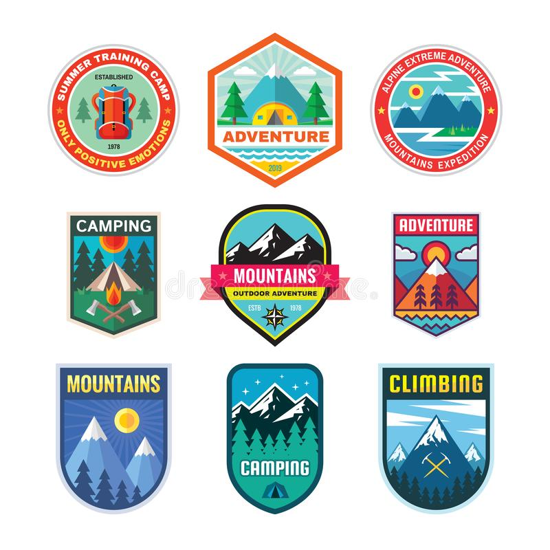 Set of adventure outdoor concept badges, summer camping emblem, mountain climbing logo in flat style. Extreme exploration sticker royalty free illustration