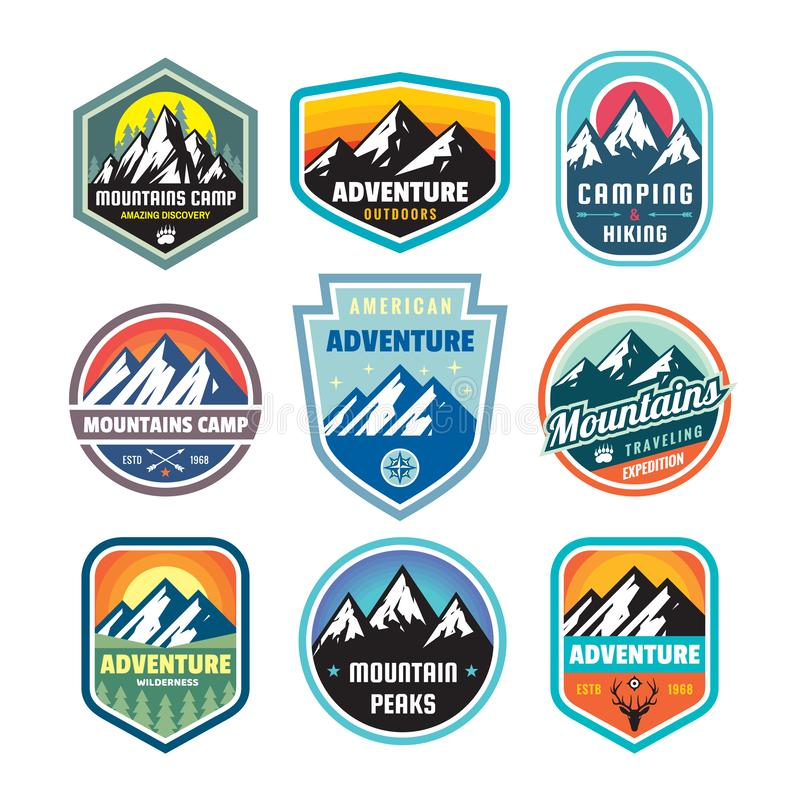 Set of adventure outdoor concept badges, summer camping emblem, mountain climbing logo in flat style. Extreme exploration sticker stock illustration