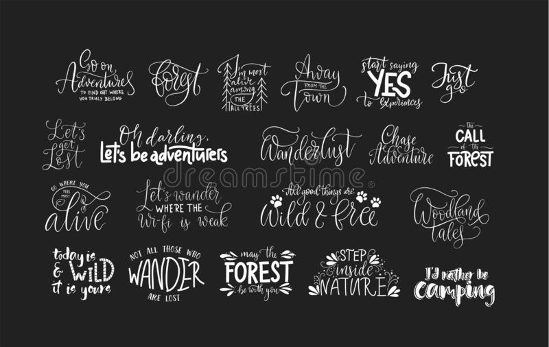 Set of adventure and travel vector quotes. Set of adventure, outdoors and travel vector quotes. Nature and forest calligraphy collection vector illustration