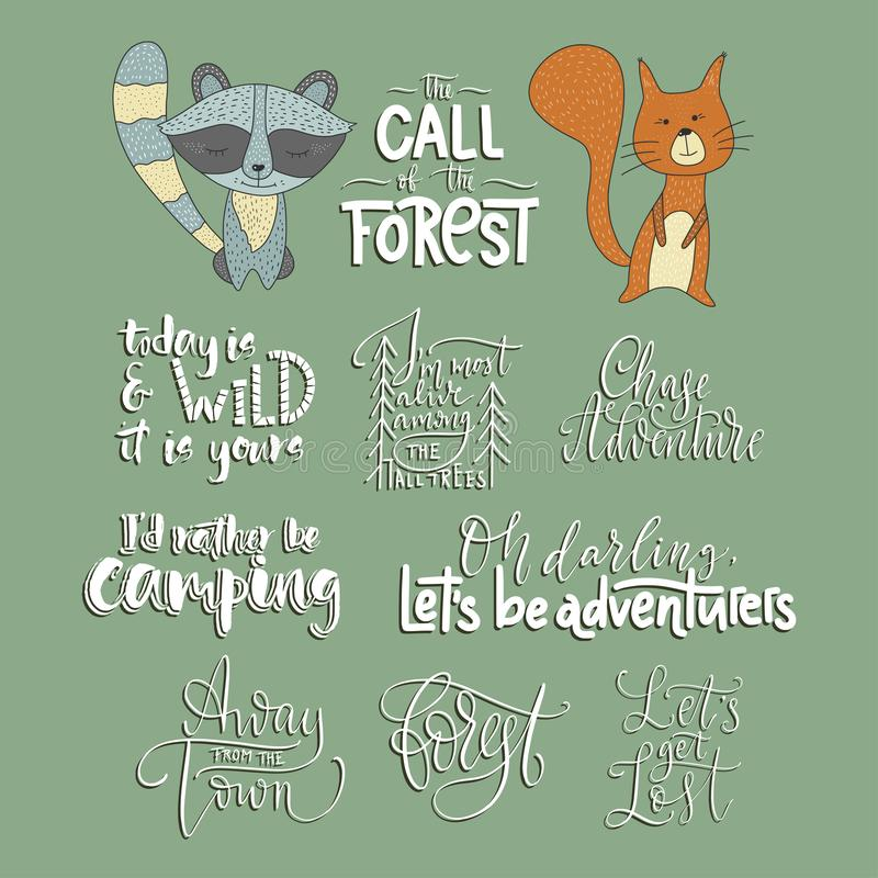 Set of adventure, outdoors and travel vector quotes and two animals icons. Set of adventure, outdoors and travel vector quotes and two hand drawn animals royalty free illustration