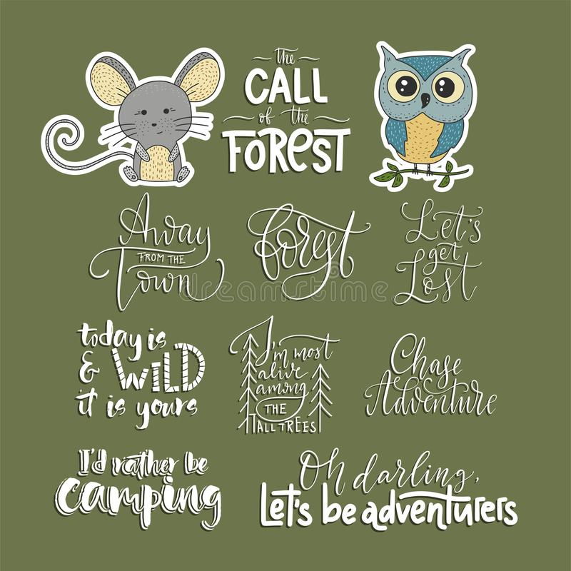 Set of adventure, outdoors and travel vector quotes and two animals icons. Nature and forest calligraphy collection royalty free illustration