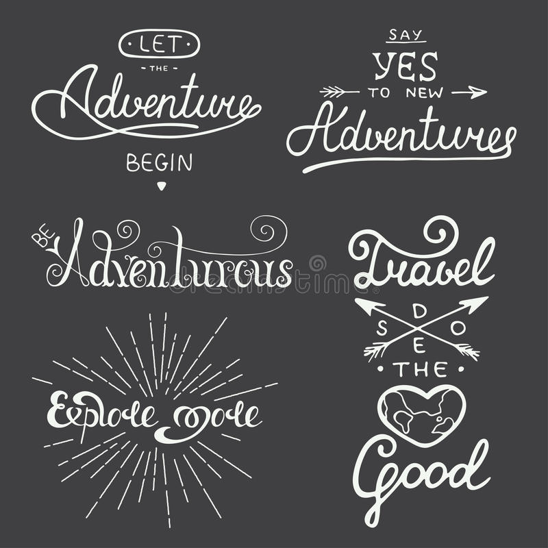 Set of adventure and travel vector lettering for greeting cards, prints and posters. stock illustration