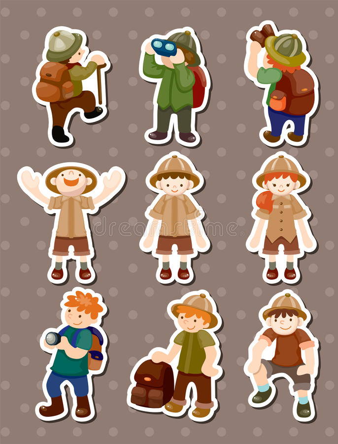 Set Of Adventurer People Stickers Stock Images