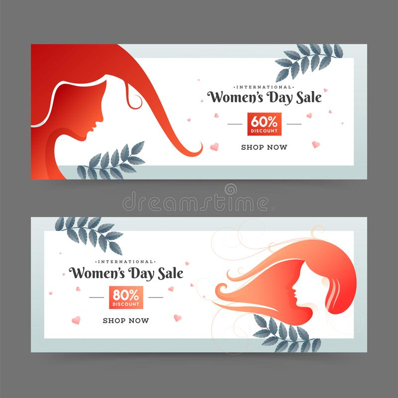 Set of advertising header or banner design with 60% discount offer and woman face illustration. vector illustration