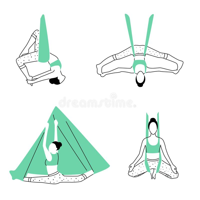 Set of aerial, fly yoga poses. Anti-gravity yoga minimalistic design. Vector illustration.  vector illustration
