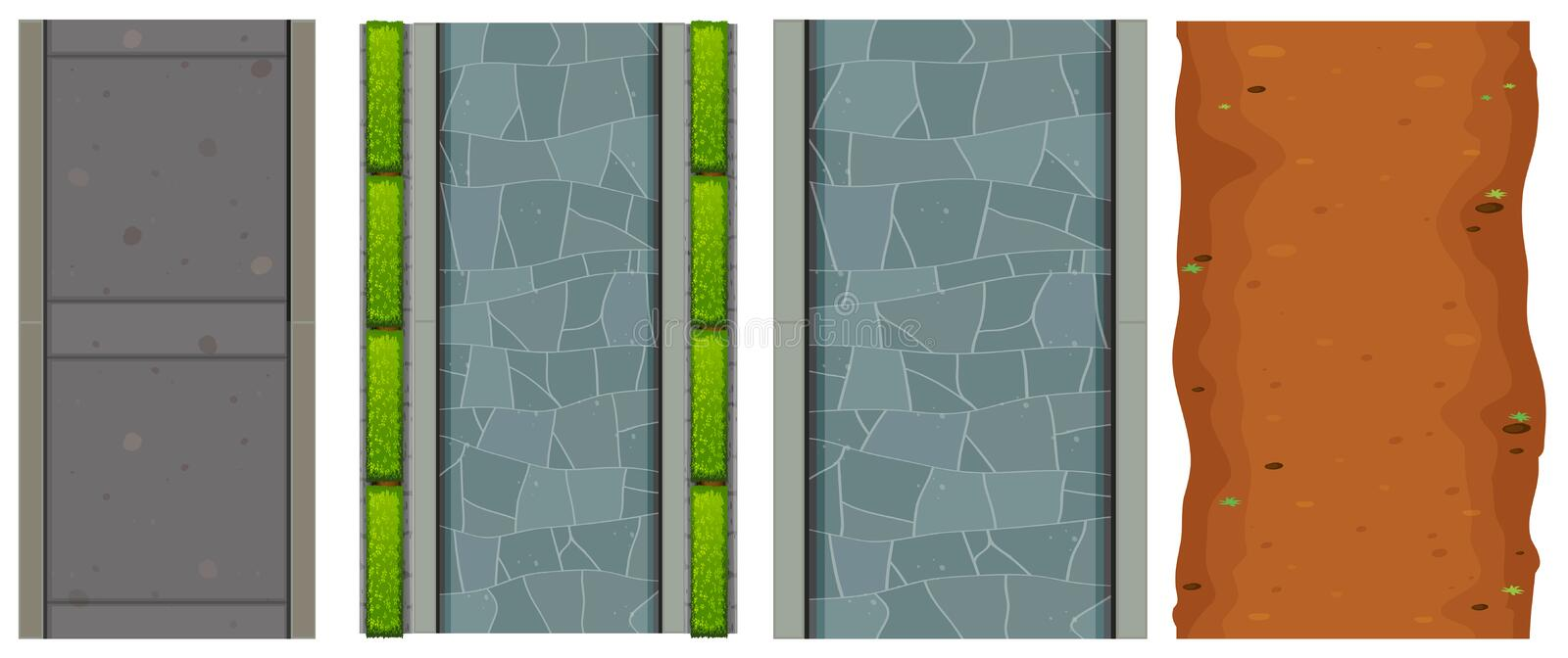 Set of aerial roads. Illustration stock illustration