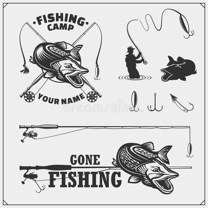 Set af fishing labels with a pike and fishing tackle. Fishing emblems and design elements. stock illustration