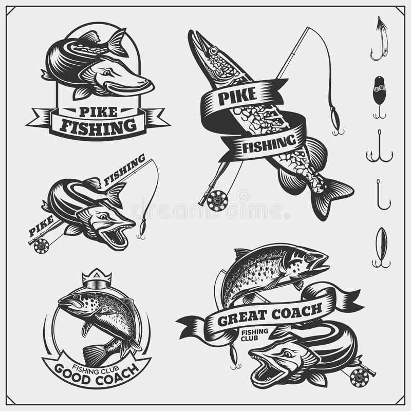 Set af fishing labels with a pike and fishing tackle. Fishing emblems and design elements. vector illustration