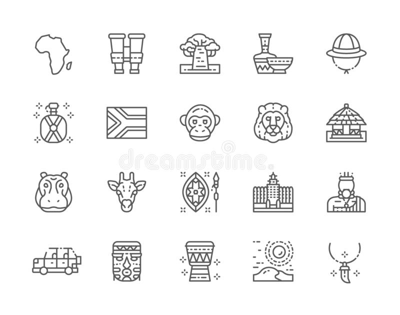 Set of Africa Line Icons. Tooth Pendant, Binoculars, Pottery, Animals and more. Set of Africa Line Icons. Tooth Pendant, Binoculars, Ethnic Pottery, Cork Helmet vector illustration
