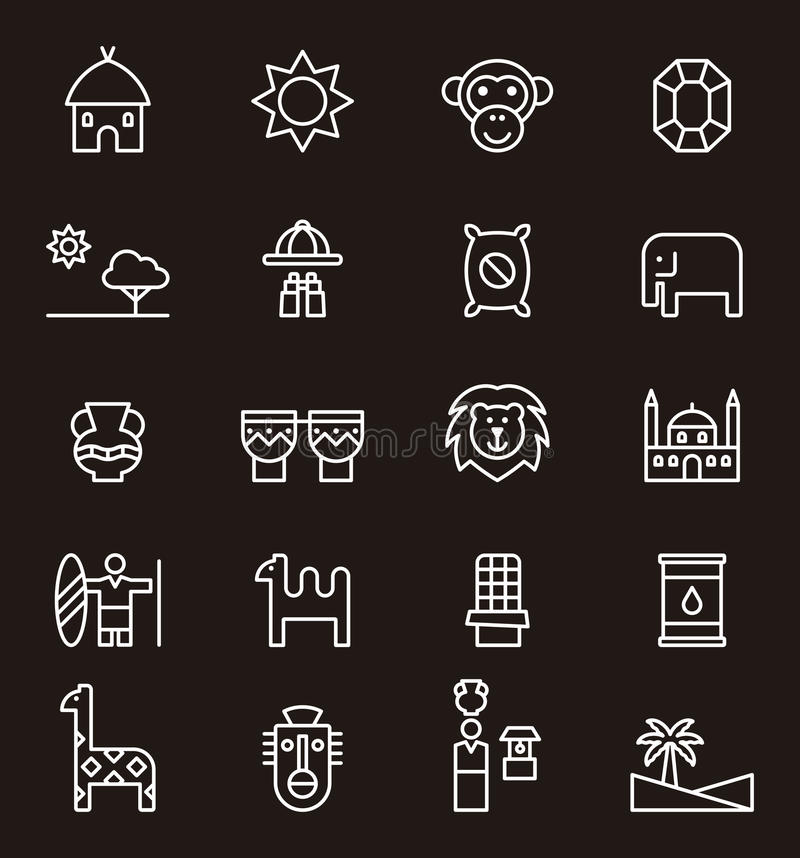 Set of Africa related icons royalty free illustration