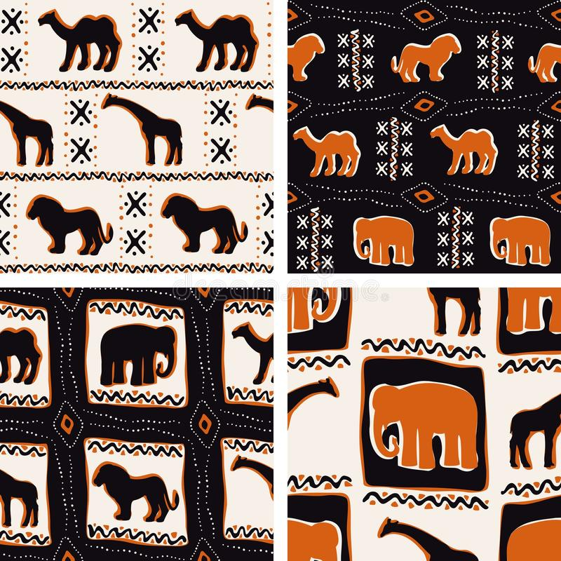 Set of Africa-themed seamless patterns stock illustration
