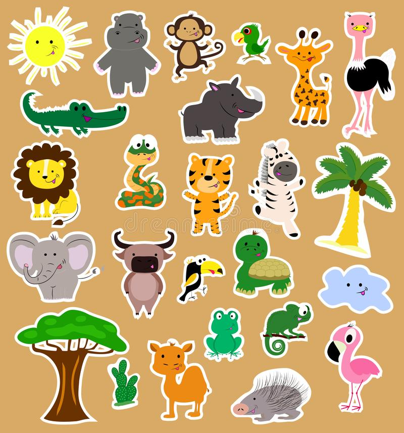 Set of african animals stikers. Twenty animals and birds, baobab and palm tree. vector illustration
