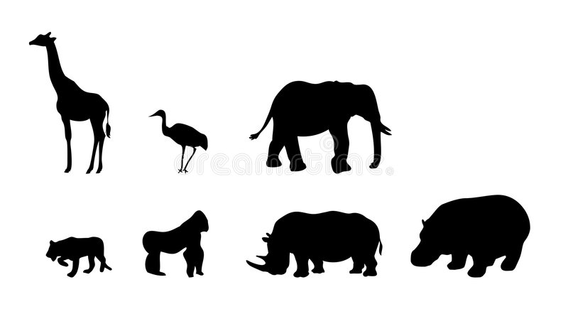 Set of african animals vector. Vectored illustrations as silhouette of different animals from africa, as giraffe, elephant, lion, gorilla, rhinoceros and