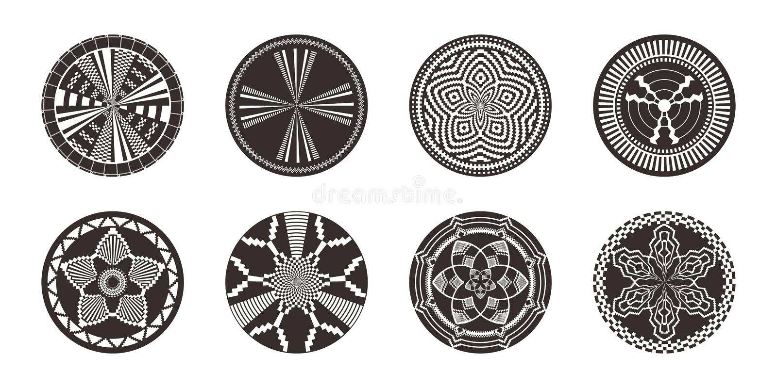 Set of African decorative elements. Tribal print stock images
