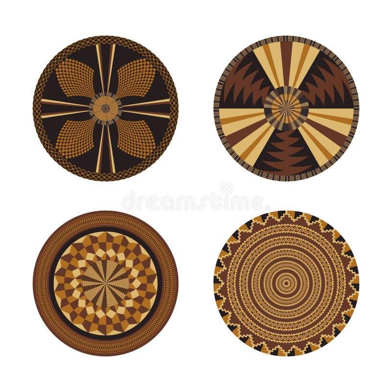 Set Afrykańscy dekoracyjni elementy Plemienny druk ilustracja wektor