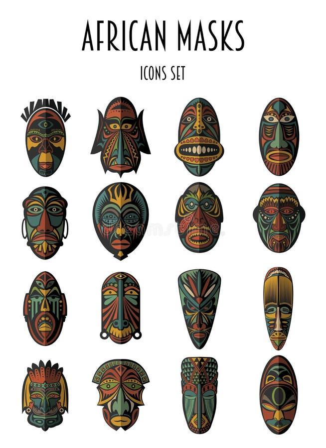 Set Afrykańskie Etniczne Plemienne maski ilustracja wektor