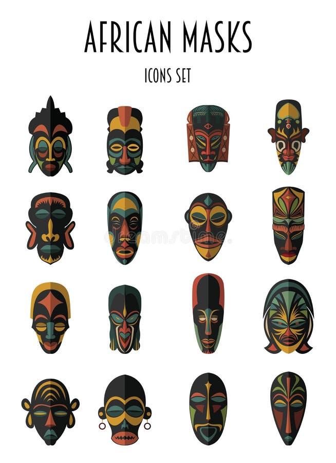 Set Afrykańskie Etniczne Plemienne maski ilustracji