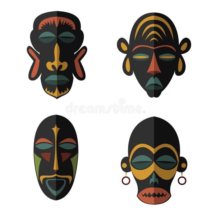 Set Afrykańskie Etniczne Plemienne maski na białym tle ilustracja wektor
