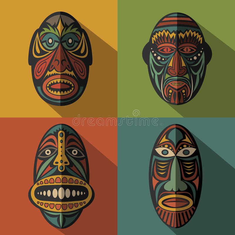 Set Afrykańskie Etniczne Plemienne maski na colour tle ilustracji