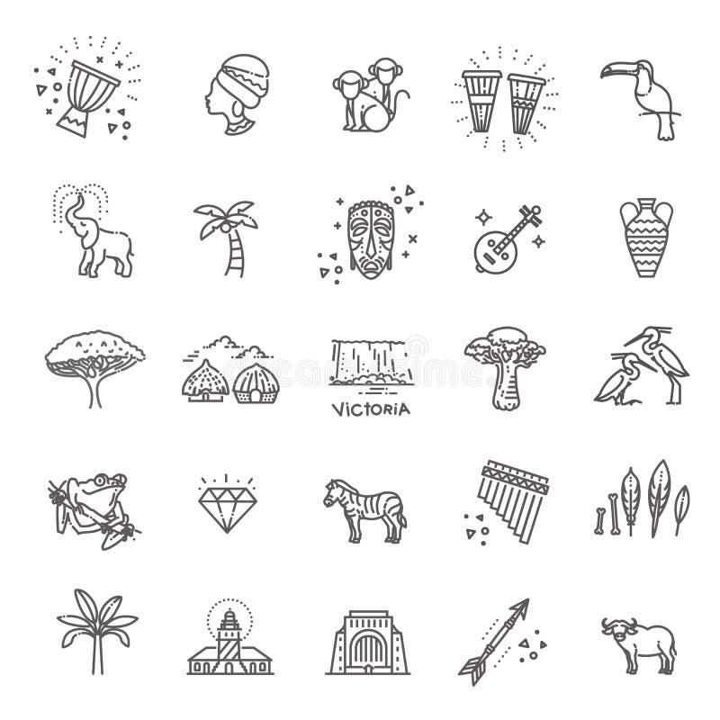 Set afrykańskie etniczne stylowe ikony w mieszkanie stylu ilustracja wektor