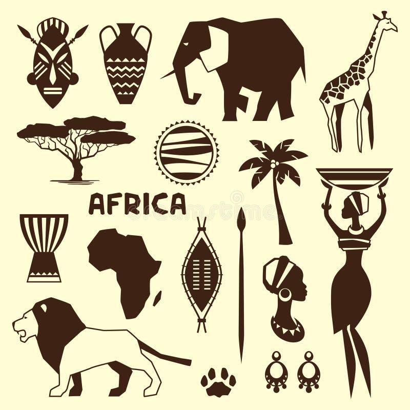Set afrykańskie etniczne stylowe ikony w mieszkanie stylu ilustracji