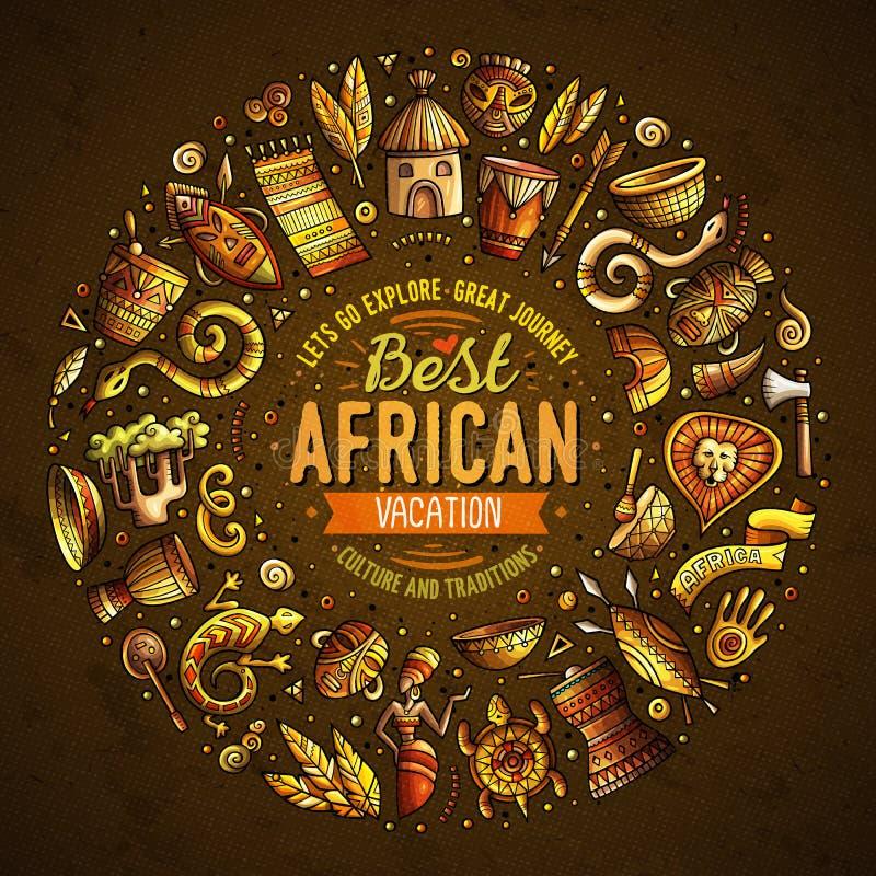 Set Afryka kreskówki doodle protestuje wokoło ramy royalty ilustracja