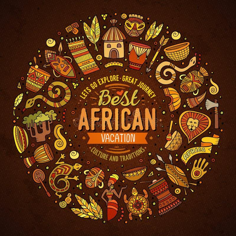 Set Afryka kreskówki doodle protestuje wokoło ramy ilustracja wektor