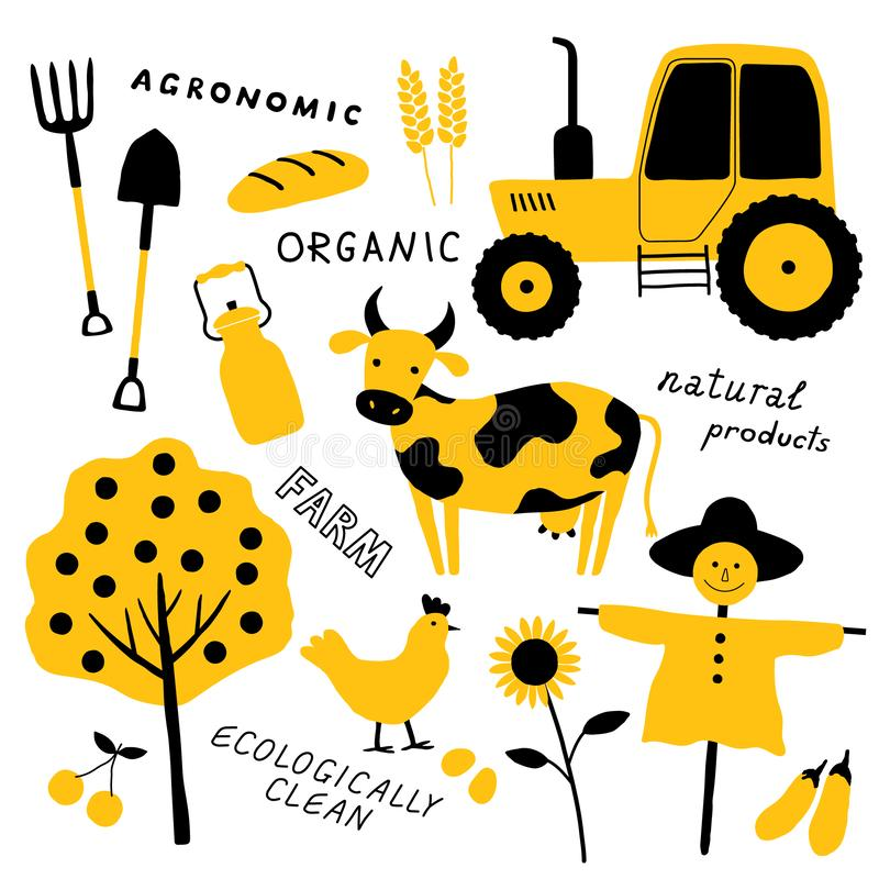 Set of agricultural and farm tools, animals, plants and machinery. Cartoon cow. Funny doodle hand drawn vector illustration. stock illustration