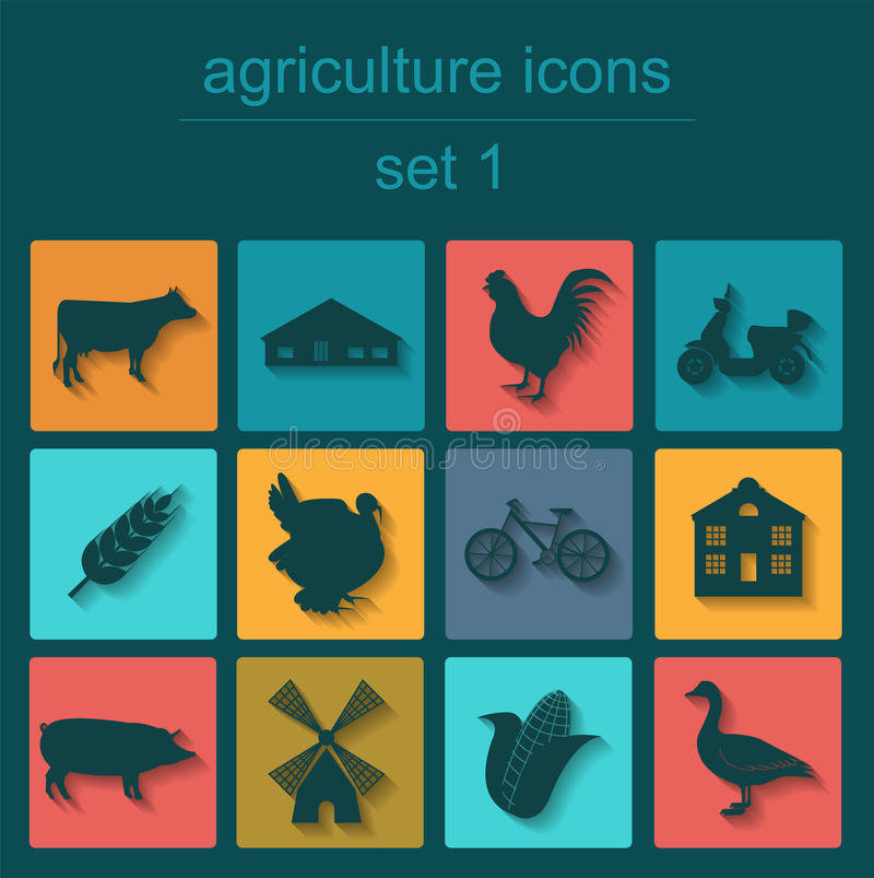 Set agriculture, animal husbandry icons. Vector illustration stock illustration
